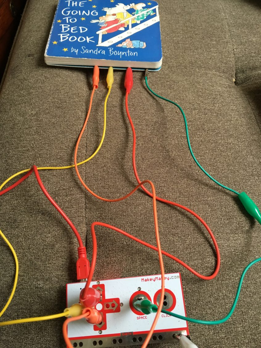 Makey Makey connected to Book